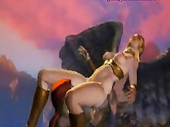 Animated blonde making love