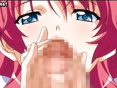 Busty hentai girl is giving him a handjob and then sucks it