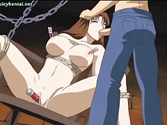 Busty hentai brunette gets nailed with a toy and gets drilled