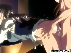 She-male shows a slut a good time with his hard-on in this hentai clip