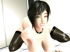 Chesty 3D hentai bitch fucking dick