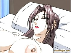 Shemale hentai with bigboobs gets sucked her cock by a  busty anime