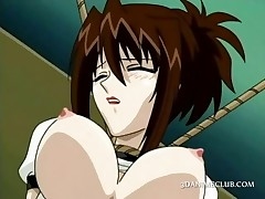 Pussy fingered anime sex slave slurps hot squirt