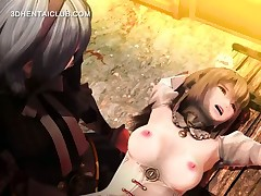 Tied up hentai sex slave gets cunt licked on table