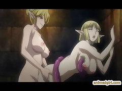 Hottie elfen hentai bimbos getting tentacle fucked by demons