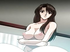 Busty anime brunette gets naked and grabs the young dude's cock