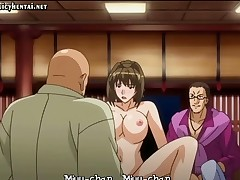 Busty brunette anime is shy and gets nailed for some double penetration