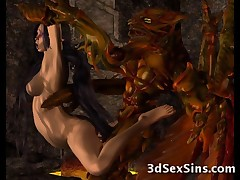 Scary alien monsters and evil tentacles from space banging a cute elven princess and jizzing on sexy 3d babes!