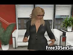 Mouth watering 3D cartoon blonde vixen eagerly sucking and tugging every inch of a cock
