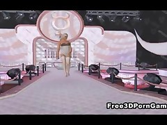Seductive 3D cartoon blonde vixen showing off her sexy body and clothing on the catwalk