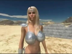 Cute animated busty princess seduces two big dicked ogres in the desert!