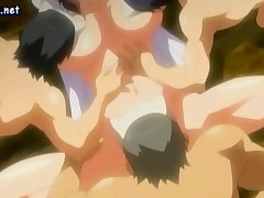 Busty anime babe gets double penetrated