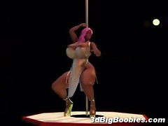 Sexy ebony stripper with huge tits shakes her big breast in a very hot striptease