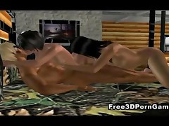 Two jaw dropping 3D cartoon vixens eagerly taking a hard cock in their tight wet pussies