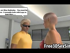 Stunning 3D cartoon hottie using all of her charm to motivate a stud to get in his workout
