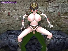 Animated warrior babe with massive boobs riding a cock
