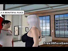 Two mouth watering 3D cartoon hotties eagerly taking every inch of a hard cock in their pussies