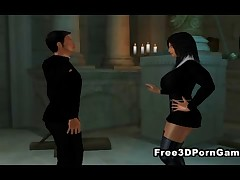 3D cartoon nun with big tits getting freaky with a horny priest and his hard cock