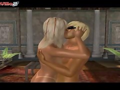 Two seductive 3D cartoon blonde vixens getting their tight pussies filled with meat