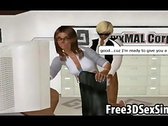 Two gorgeous 3D cartoon hotties sucking cock and getting fucked hard by their boss