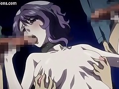 Busty brunette anime sucks cock and gets drilled in a gangbang