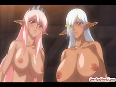 Two busty hentai babes suck and fuck a horny cock until get showered by juicy sperm
