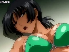 Young skinny brunette hentai girl gets cum on her face and tits