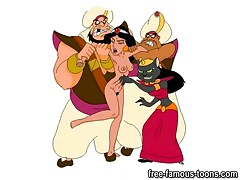 Thief Aladdin perverted princess Jasmine and with friends Jago, Aboo and Genie begin to fuck her hard Jasmine like to suck Aladdins dick and to lick his