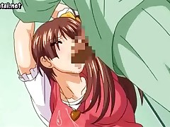 Busty brunette hentai babe giving some deep throat cock sucking
