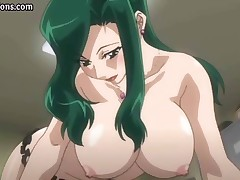Busty hentai babe rubs and sucks on his cock for a load of cum