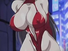 Horny hentai chick in sexy red leather getting fucker sex in street