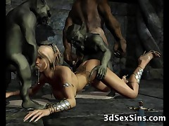 Orcs, dwarfs, giants and horny knights hungry for fresh pussies cant resist to fuck the cutest elven princesses and 3D babes ever created