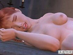 3D hentai girl is getting drilled by a big black cock from behind