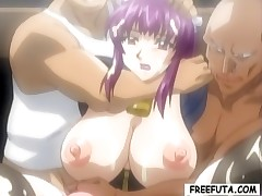 Tied up hentai shemale with huge tits gets and gives head
