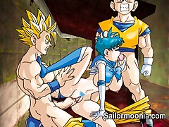 Famous hentai teen girl Sailor Mercury in hardcore orgy