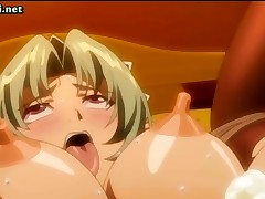 Anime girl with big boobs gets nailed hard with a messy cumshot