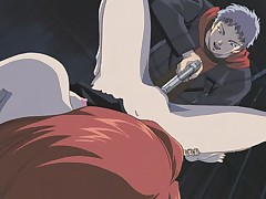 Sexy hentai redhead getting attacked and pounded with a gun