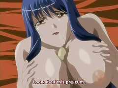 Big breasted hentai slut gives a blowjob and gets jizzed