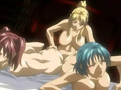 Anime babes gets threesome fucked by dickgirl