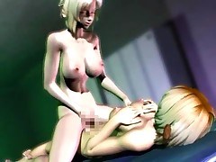 Horny 3d dickgirl stuffing mouth and pussy of a blonde gal