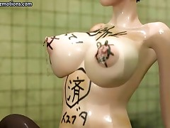 Busty 3D animated brunette is in the bathroom getting pumped