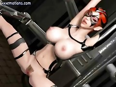 Masked big-breasted 3D-animated hentai hottie gets some pain and pleasure
