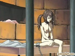 Chained hentai slave gets an enema injection in her ass