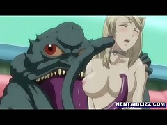 Hentai girl gets electric shocks and fucked by monster frog
