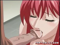Cute redhead hentai chick with huge tits gets cock