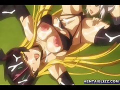 Busty hentai Princess hard threesome fucked in the outdoors