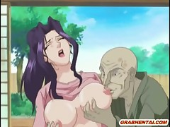Cockhungry anime face covered by cum after tittyfuck