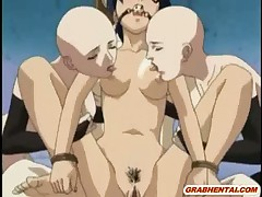 Bondage hentai with a muzzle gets licked her pussy and groupfucked