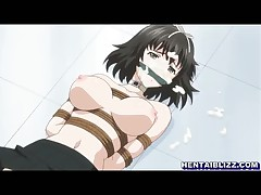 Bondage hentai coed with muzzle hard poking and cumshoting