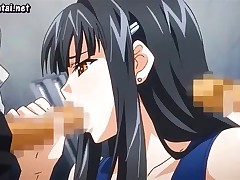 Brunette anime with big tits gets pounded front and back in gangbang